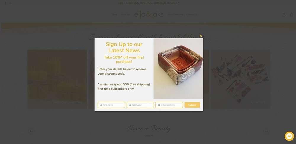 pop up   ella & jaks   Cultivate Web Design