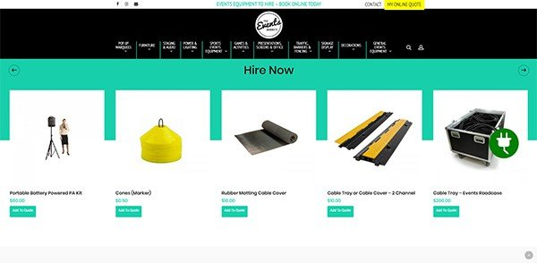 The Events Agency Hire Featured Products | Cultivate Web Design | Harvest Your Online Potential