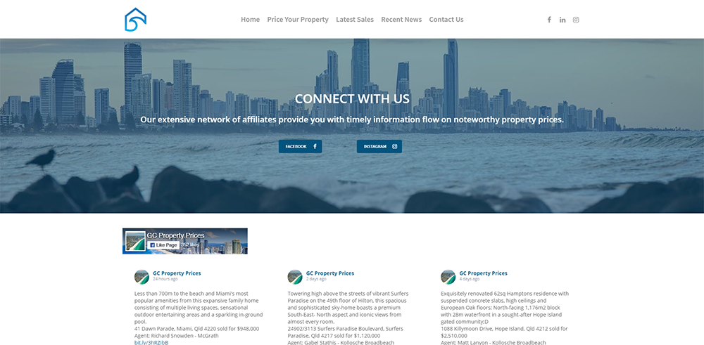 GC Property Prices Social Media | Cultivate Web Design | Harvesting Your Online Potential