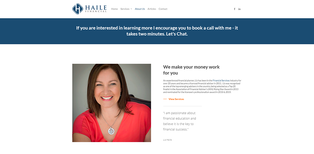 Haile Financial About | Cultivate Web Design | Harvest Your Online Potential