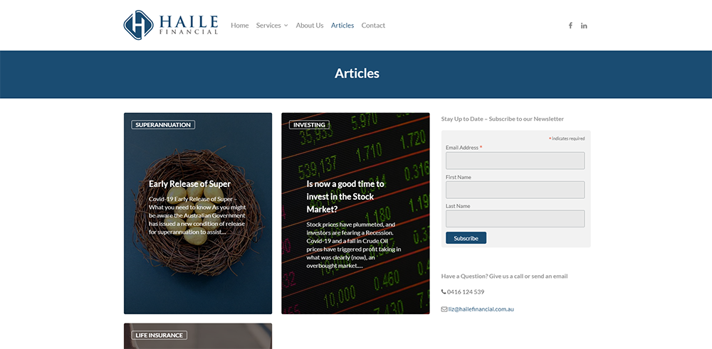 Haile Financial Articles | Cultivate Web Design | Harvest Your Online Potential