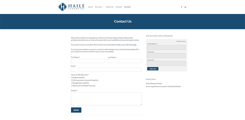 Haile Financial Contact | Cultivate Web Design | Harvest Your Online Potential