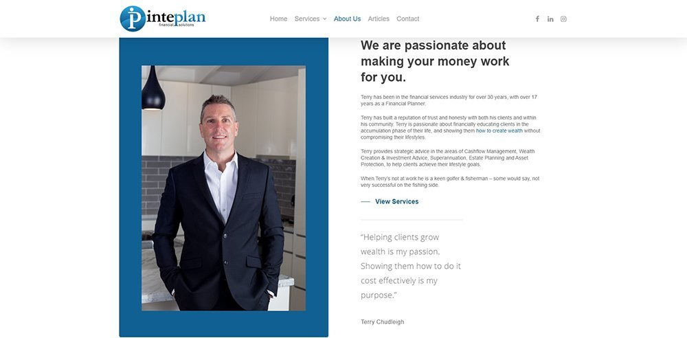Inteplan Financial Solutions About Terry | Cultivate Web Design | Harvesting Your Online Potential