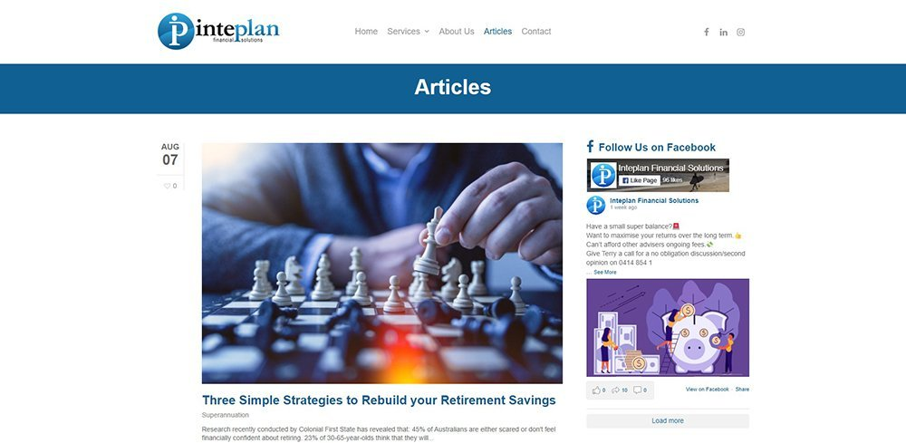 Inteplan Financial Solutions Articles | Cultivate Web Design | Harvesting Your Online Potential