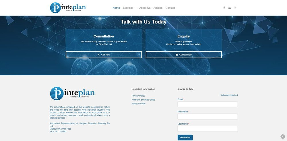 Inteplan Financial Solutions Contact | Cultivate Web Design | Harvesting Your Online Potential