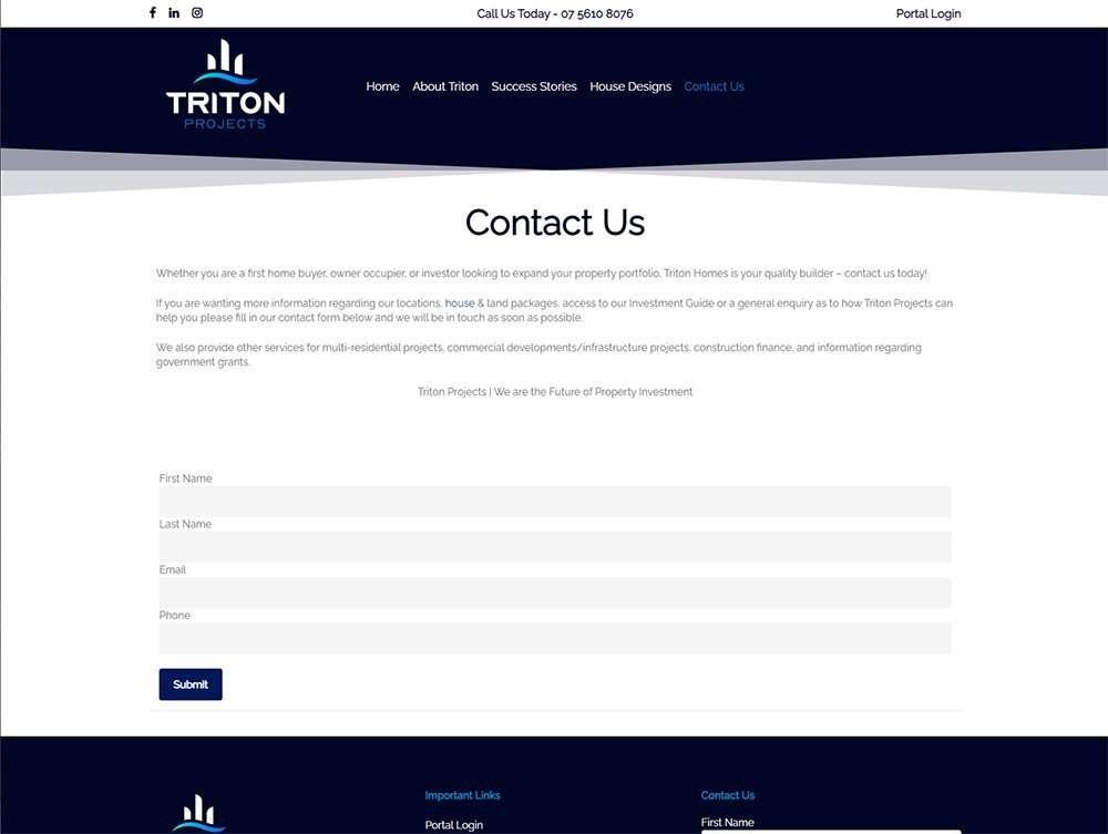 Contact Triton Projects   Cultivate Web Design   Portfolio